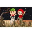 Boy and girl camping out in the field vector image vector image