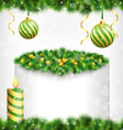 candle with holly pine Christmas balls and frame vector image vector image