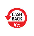 cash back 4 percent money refound - concept badge vector image vector image