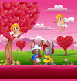 couple a rabbit in the beautiful pink garden vector image vector image