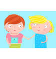 cute kids nursery poster design brother and sister vector image