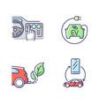 electric car benefits rgb color icons set