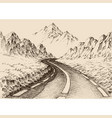 empty road passing through alpine landscape hand vector image vector image