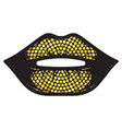 female gold glitter lips isolated on white vector image vector image