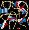 flags and chains fashion seamless pattern vector image