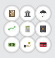 Flat icon gain set of strongbox greenback vector image