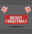 floating merry christmas banner with balloons vector image