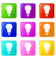 glowing led bulb icons 9 set vector image vector image