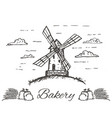 hand drawn bakery logo badge emblem vector image