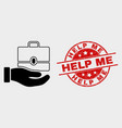 hand offer case icon and distress help me vector image vector image