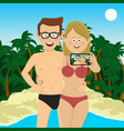 happy couple taking selfie picture at beach vector image vector image