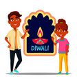 happy indian children in turban with diwali banner vector image