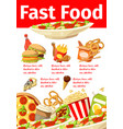 junkfood snacks fast food menu poster vector image vector image