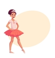 Little ballerina in pink tutu hands on waist vector image
