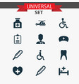 medicine icons set collection of healer vector image vector image