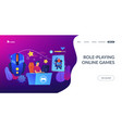 mmorpg concept landing page vector image vector image