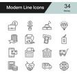 money icons modern line design set 34 vector image