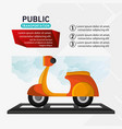 motorcycle delivery service public transport vector image vector image