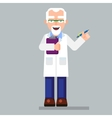 old scientist character wearing glasses and lab vector image
