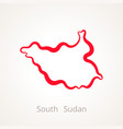 outline map of south sudan marked with red line vector image vector image
