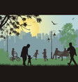 people silhouettes in a city park vector image vector image