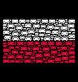 polish flag mosaic of car items vector image