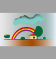 rainbow in a blue sky immediately after a rain vector image vector image