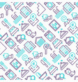 real estate seamless pattern with thin line icons vector image vector image