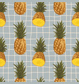 seamless summer pattern with pineapples on retro vector image