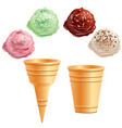 set of different ice cream cones vector image vector image