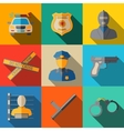 Set of flat police icons - gun car crime scene vector image