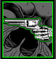 skull hand hold uzi gun vector image vector image