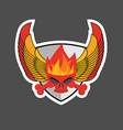 skull with flames on the shield and wings Heraldry vector image vector image