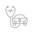 stethoscope and car linear icon on white vector image vector image
