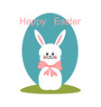 white rabbit with a bow in the meadow vector image