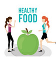 women with fresh green apple health food vector image