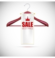Wooden hanger with advertising label vector image vector image