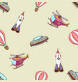 pattern with balloon helicopter and rocket vector image