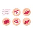 Valentines day flat icon set vector image