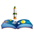 A book with planets and a rocket vector image vector image