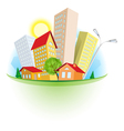 abstract cartoon city vector image vector image