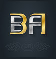 b and a - initials ba - metallic 3d icon