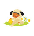 baby boy in lamb costume with decorative egg vector image vector image