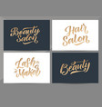 beauty salon logo design cards hair salon vector image vector image