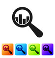 black magnifying glass and data analysis icon vector image