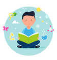 boy reading a book on science or nature study vector image vector image