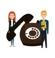 business couple with retro phone vector image