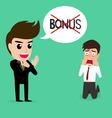 Business man shocked he does not get bonus vector image