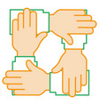 businesspeople hands teamwork icon vector image vector image