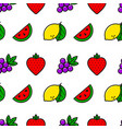 casino fruits simple line style seamless pattern vector image